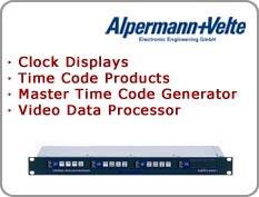 Alpermann+Velte - Clock Displays, Time Code Products, Master Time Code Generator, Video Data Processor